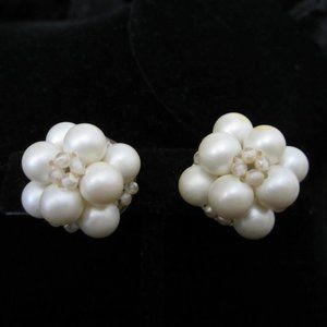 Vintage Pearl/Seed bead Button Clip Earrings